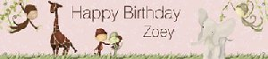 Jungle Girl Birthday Banner - Wall Sticker Outlet