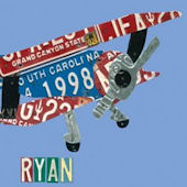 License Plate Plane Wall Canvas Art