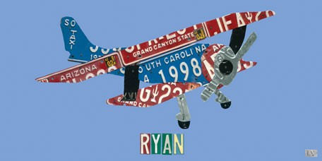 License Plate Plane Wall Canvas Art - Wall Sticker Outlet