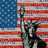 License Plate Liberty Flag Wall Canvas Art
