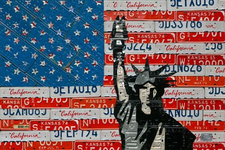 License Plate Liberty Flag Wall Canvas Art - Wall Sticker Outlet