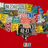 License Plate USA Wall Map Wall Canvas Art