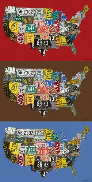 License Plate USA Wall Map Wall Canvas Art - Wall Sticker Outlet