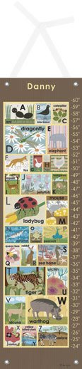 Modern Alphabet on Chocolate Growth Chart - Kids Wall Decor Store