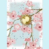 Nest with Cherry Blossoms Wall Canvas Art