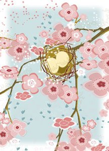 Nest with Cherry Blossoms Wall Canvas Art - Wall Sticker Outlet