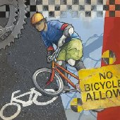 No Bicycles Allowed Wall Canvas Art