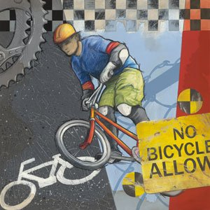 No Bicycles Allowed Wall Canvas Art - Wall Sticker Outlet