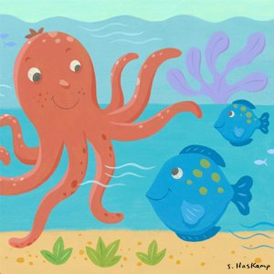Octopus and Fish Wall Canvas Art - Wall Sticker Outlet