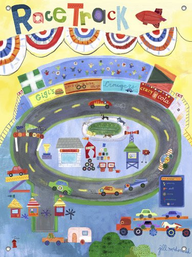 Racetrack Wall Mural - Kids Wall Decor Store