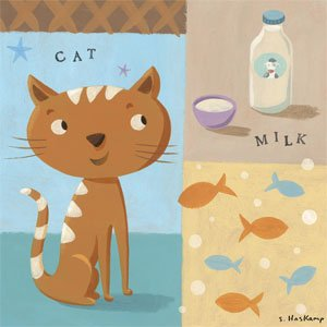 The Cat Takes the Milk Wall Canvas Art - Wall Sticker Outlet