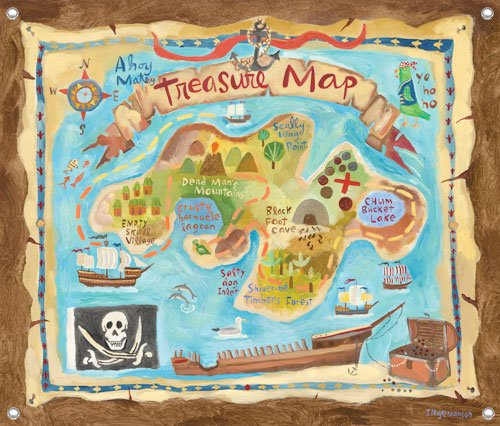 Treasure Map Wall Mural - Wall Sticker Outlet