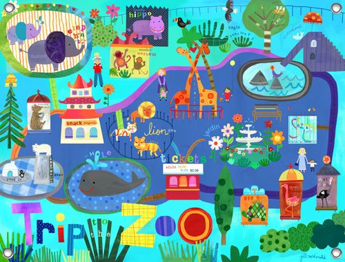 Trip to The Zoo Wall Mural - Wall Sticker Outlet