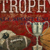 Trophy Mfg All Sports Red Wall Canvas Art