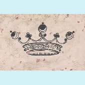 Vintage Crown in Charcoal Wall Canvas Art