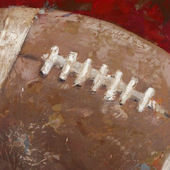 Vintage Football Red Wall Canvas Art