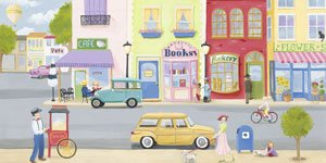 Girls Vintage Street Scene - Wall Sticker Outlet