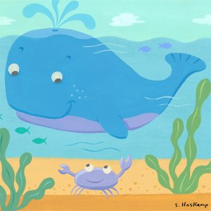 Whale and Crab Wall Canvas Art - Wall Sticker Outlet