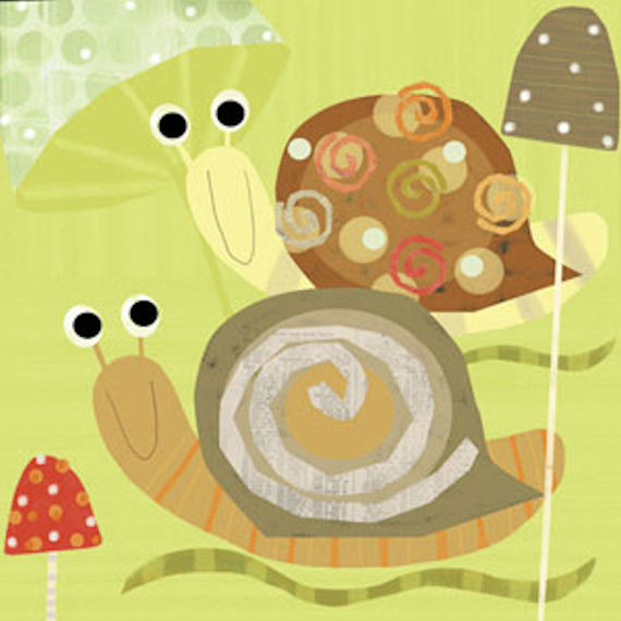 Swirly Snails Canvas Wall Art