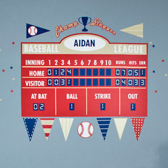 Baseball athlete scoreboard peel and place for Baseball scoreboard wall mural