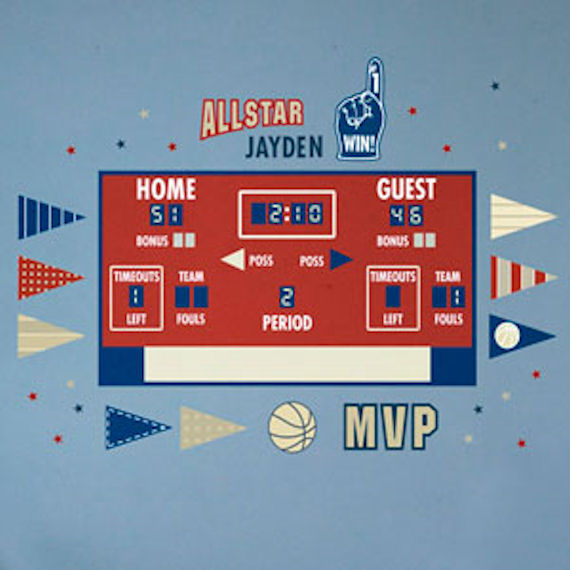 Basketball Athelete Scoreboard Peel and Place - Wall Sticker Outlet