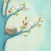 Baby Birds Canvas Wall Art