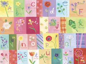 A to Z Flowers Wall Mural - Wall Sticker Outlet
