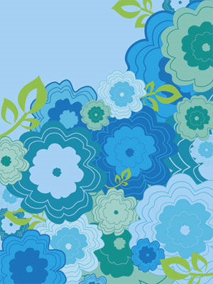 Flower Patch on Blue Flower Patch Wall Canvas Art   Wall Sticker Outlet