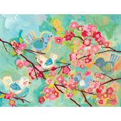 Cherry Blossom Birdies Canvas Wall Mural SALE