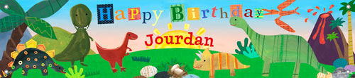 Dinosaur Birthday Banner - Wall Sticker Outlet