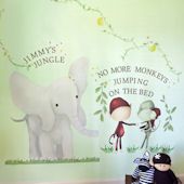 Elephant Monkey Trio Peel and Place Wall Mural
