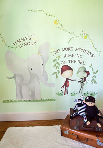 Elephant Monkey Trio Peel and Place Wall Mural - Wall Sticker Outlet