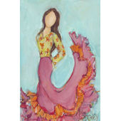 Flamenco Dancer Brunette Wall Canvas Art