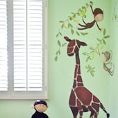Giraffe Monkeys Peel and Place Wall Sticker Mural