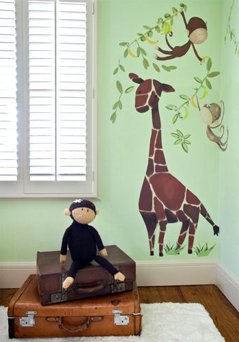 Giraffe Monkeys Peel and Place Wall Sticker Mural - Wall Sticker Outlet