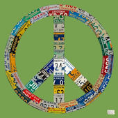 License Plate Peace Green Wall Canvas Art