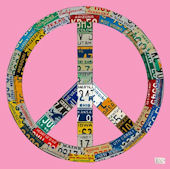 License Plate Peace Pink Wall Canvas Art