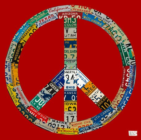 License Plate Peace Red Wall Canvas Art - Wall Sticker Outlet