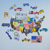 License Plate USA Peel and Place Wall Mural