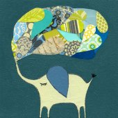 Lucky Elephant Dark Aqua Canvas Wall Art