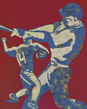 Mosaic Baseball Player Wall Art - Wall Sticker Outlet