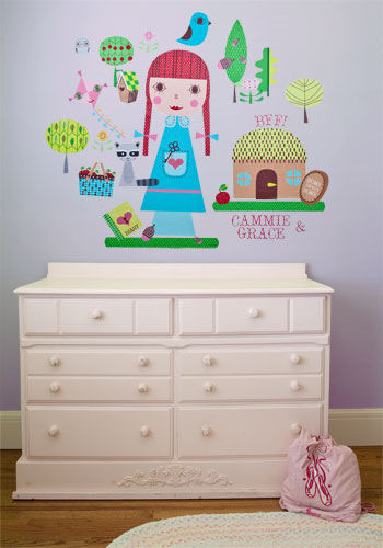 Paper Doll Claire Peel and Place Wall Mural - Wall Sticker Outlet