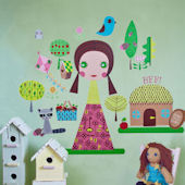 Paper Doll Jilly Peel and Place Wall Mural