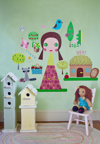 Paper Doll Jilly Peel and Place Wall Mural - Wall Sticker Outlet