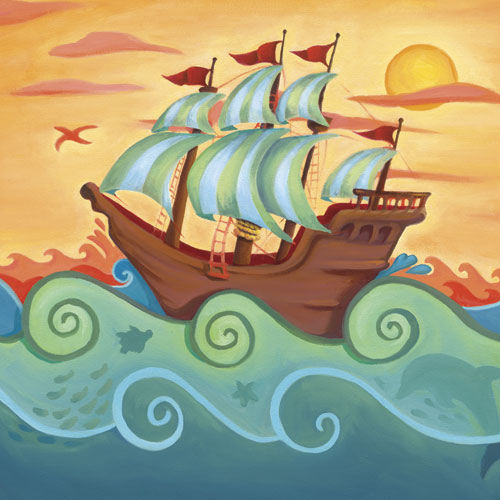 Pirate Ship Wall Canvas Art - Wall Sticker Outlet