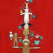 Sock Monkey Holiday Tree Canvas Wall Art