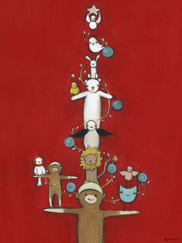 Sock Monkey Holiday Tree Canvas Wall Art - Wall Sticker Outlet