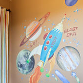 Retro Rocket Peel and Place Wall Mural