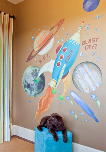 Retro Rocket Peel and Place Wall Mural - Wall Sticker Outlet