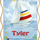 Sailboat Personalized Canvas Wall Hanging